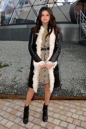 dress,coat,selena gomez,fashion week 2015,boots