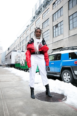 jacket nyfw 2017 fashion week 2017 fashion week streetstyle red jacket t-shirt white t-shirt denim jeans white jeans boots black boots ankle boots