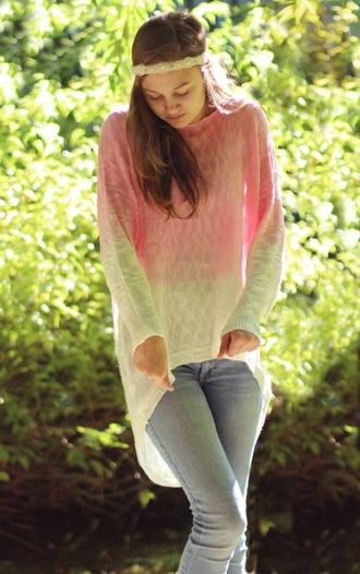 sweater fall outfits fall sweater tie dye ombre pastel pink denim back to school zaful outfit idea blogger high low high low sweater pink and white instagram tumblr streetstyle girly style pretty dip dyed