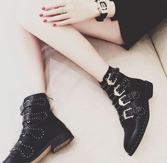 shoes girly black ankle boots buckle boots