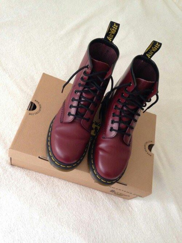 burgundy shoes winter boots DrMartens