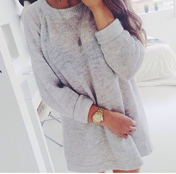 Sweater: winter sweater, jewels, grey sweater, watch, white, grey ...