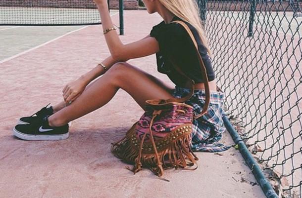 shoes nike sneakers bag fringes fringed bag aztec aztec bag aztec fashion