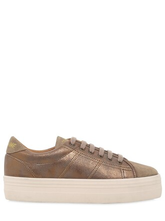 metallic sneakers platform sneakers beige shoes