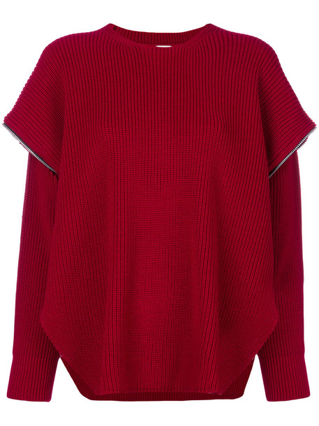 sweater women layered red