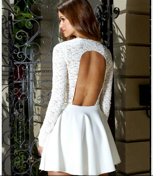 white dress lace ivory prom prom dress short dress long sleeved dress