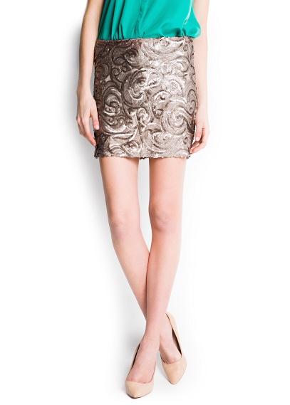 MANGO - CLOTHING - Skirts - Sequined miniskirt