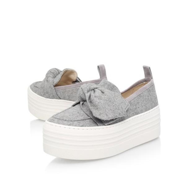 shoes platform slip on shoes platform plimsols bow slip ons marl grey grey  marl grey plimsolls eb7fe7c64