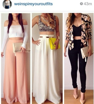 palazzo palazzo pants shoes high heels jacket top off the shoulder white jewels belt wide-leg pants red lime sunday