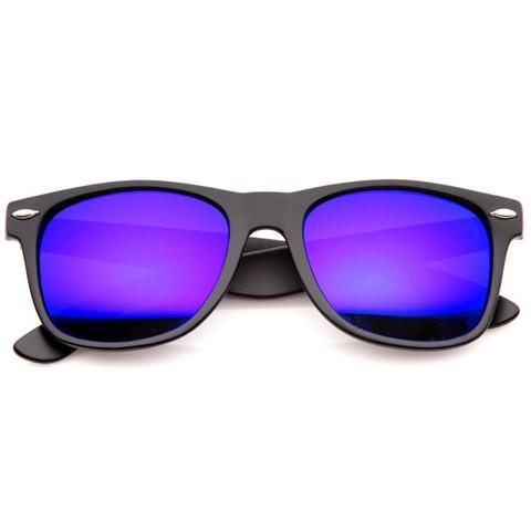 Flat Matte Black Revo Color Lens Wayfarer Sunglasses 8025                             zeroUV