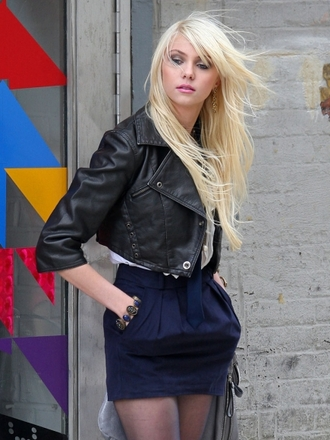 jacket skirt tay mom navy lantern bubble gossip girl mini short pockets taylor momsen