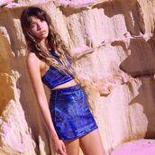 top,liberated heart,halter neck,skirt,matching set,set,festival,doof,galaxy print,two-piece
