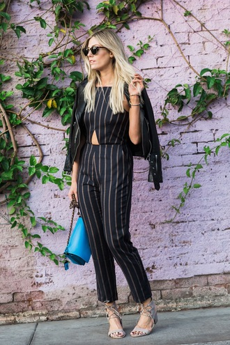 devon rachel blogger jumpsuit jacket bag sunglasses shoes leather jacket jumper blue bag lace up black jumpsuit block heels