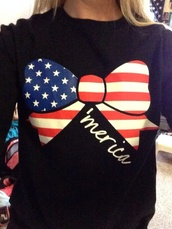 shirt,merica,blouse,american flag,country,patriotic,red white and blue,stars and stripes,long sleeves,sweater,'merica,bow,flag,america,american flag shirt