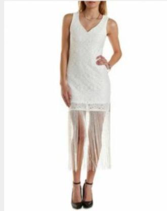 dress white dress fringes sleeveless dress classy sassy