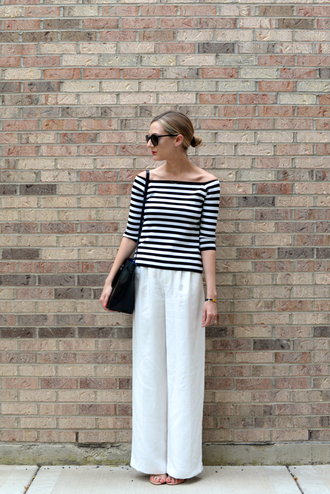 see jane blogger pants top shoes see anna jane striped off shoulder top stripes striped top three-quarter sleeves white pants wide-leg pants black bag bag shoulder bag office outfits black sunglasses spring outfits