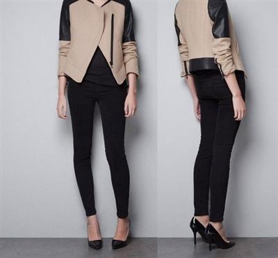 Womens PU Added Detailed Shoulder Jacket