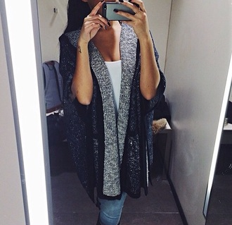 cardigan grey sweater fluffy fashion coat hot white dress