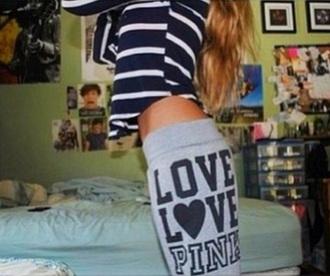 pants love pink victoria's secret grey