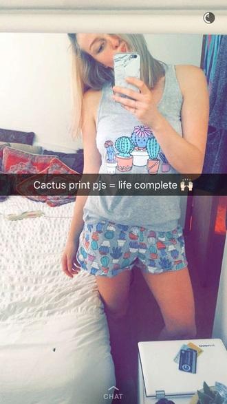 pajamas cactus print cute