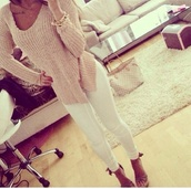 sweater,pink,laine,tan,cute,crochet,crochet top,knitted cardigan,knitted sweater,beige,beige sweater,helpmefindit,women,top,please find his,i want this lots,shirt,withe,jeans,shoes,wedges,nude shoes,nude sweater,dope,indie,grunge,vogue,dress