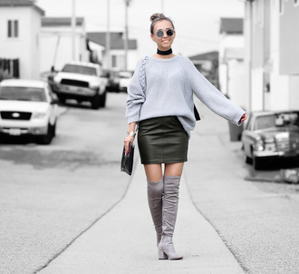 different cands blogger bag scarf grey sweater knee high boots round sunglasses leather skirt mini skirt clutch suede boots