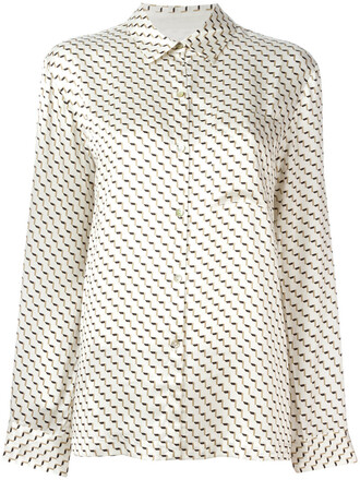 shirt women geometric nude print silk top