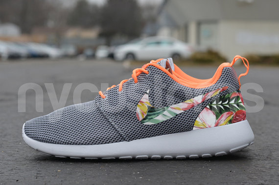 Nike Roshe Run Grey Orange Island Floral Print Custom by NYCustoms