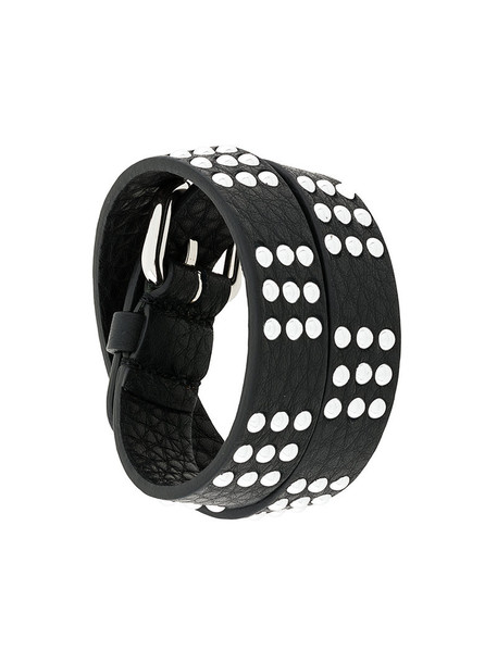 studded metal women leather black jewels