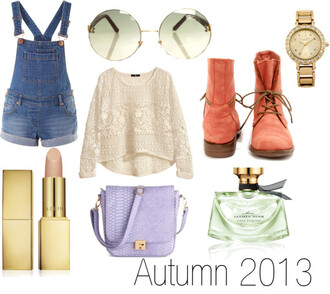 shoes fall outfits 2013 pastel lilac lipstick watch overalls sunglasses boots salmon mint gold sweater