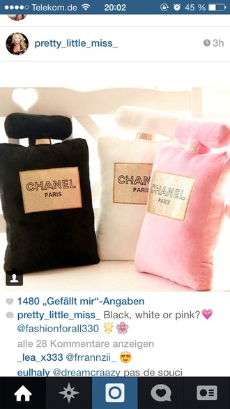 pajamas pillow pink black white channel coco