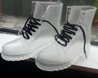 shoes boots transparent wellies white fashion cool laces black urban vintage hipster candid unisex guys girl
