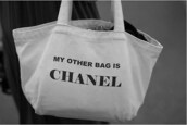 chanel,my other bag is chanel,bag,white bag,cool,lovely,cute,pretty,tote bag,funny,fashion,girl,style,handbag,chan,like,white,black,purse,quote on it,chanel bag,black auf white,black and white,gigi hadid,kendall jenner,kylie jenner,selena gomez