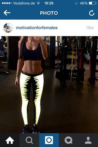 leggings neon nike shorts neon sportswear black pants sports bra