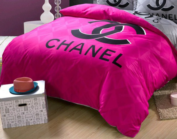 home accessory: chanel, bedding, cute, pink, dope, earphones