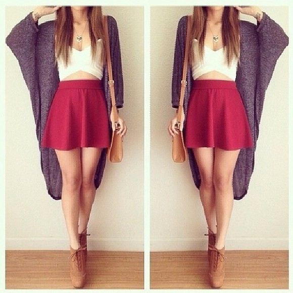 skirt grey white white top top grey cardigan red shirt cardigan blouse