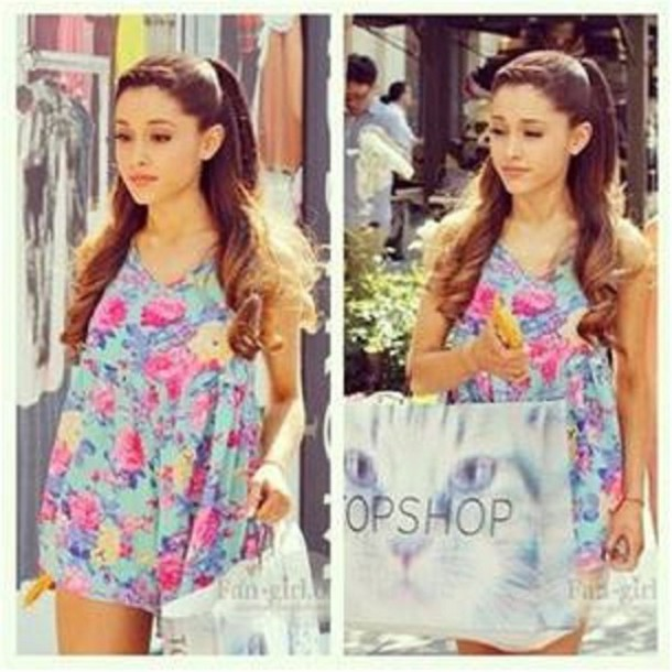 Dress: clothes, ariana grande, floral, light blue dress, colorful ...