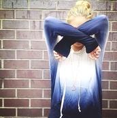 sweater,dip dyed,dipdye sweater,blue,white,fashion,cute,gradient,ombre,hoodie,sweatshirt,jacket,comfy,tie dye,tiedyehoodie,ombre bleach dye,white and dark blue fade