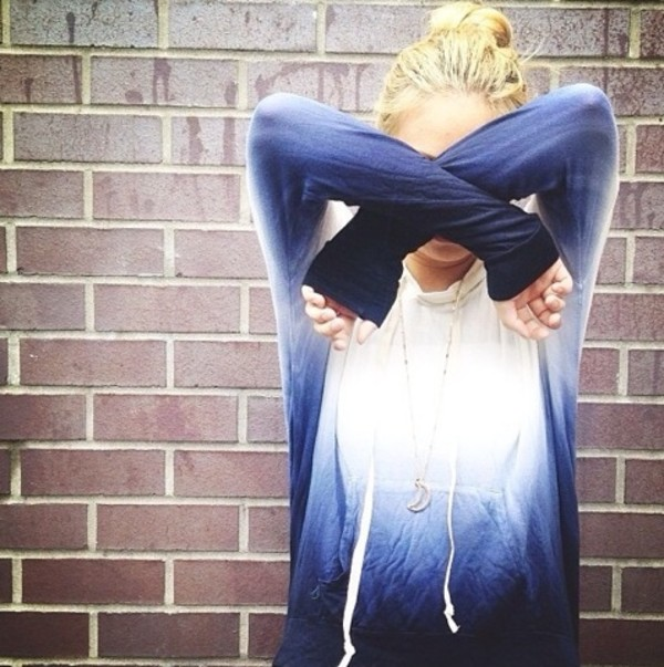 sweater dip dyed dipdye sweater blue white fashion cute gradient ombre hoodie sweatshirt dip dyed jacket comfy tie dye tiedyehoodie ombre bleach dye white and dark blue fade