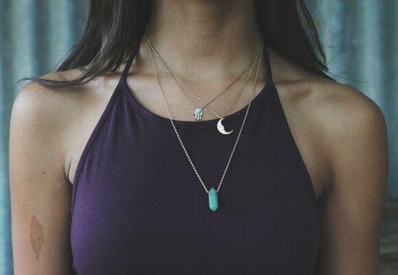 vintage style indie grunge jewels jewelry hippie necklace moon hamsa quartz crystal quartz gemstone boho punk turqouise