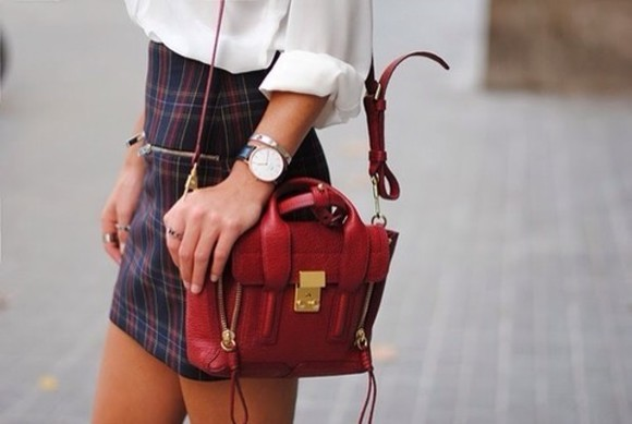 red bag white blouse skirt striped skirt