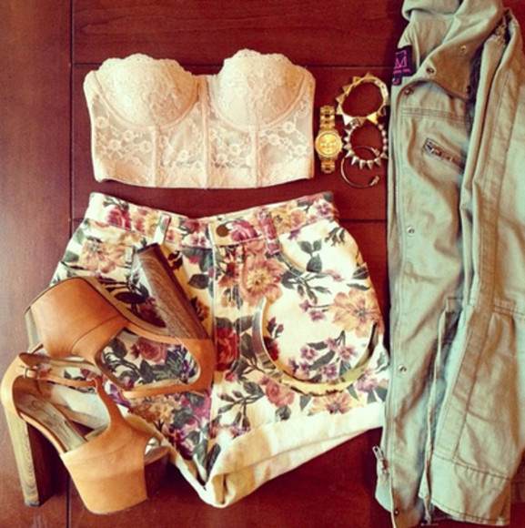 shoes nude sandals high heeled sandals tanned shirt high waisted short flowered shorts corset top high heels shorts jewels floral shorts lace coat military jacket bracelets gold braclet gold watch jacket blouse tank top flowers pretty t-shirt