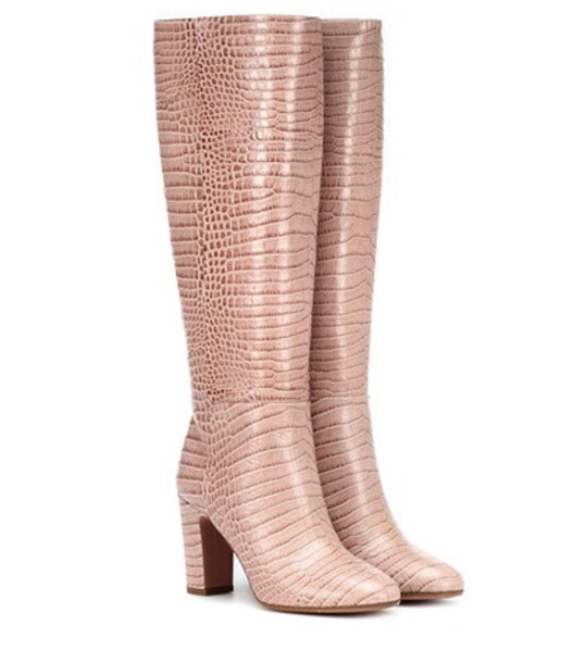 Aquazzura Brera 85 embossed leather boots in pink