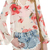 abaday | abaday V-neck Backless Floral Print Flouncing Sleeves Loose Blouse, The Latest Street Fashion