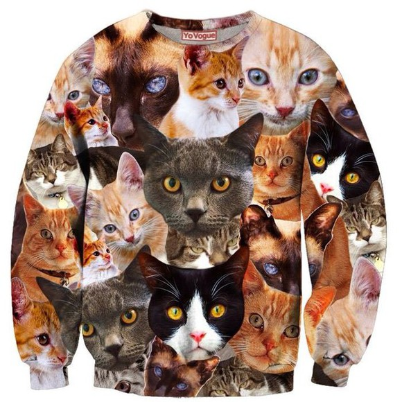 top crewneck sweater style fashion jumper cats kitten crewneck winter winter sweater winter jacket