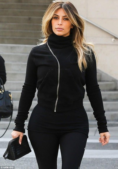 asymmetrical black jacket cardigan celebrity kim kardashian kardashians all black