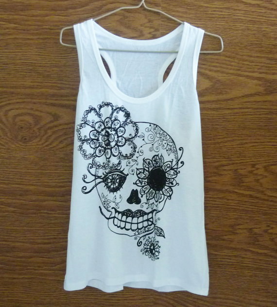 Skull tank top white/ flower/ cool tank tops size s/m/l/xl flower shirt/ women singlet/ shirt/ sleeveless/ tops/ tank tops