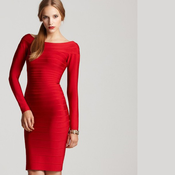 Dress: sexy dress, red dress, long sleeves, long sleeve dress ...