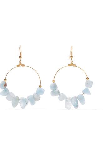 beaded earrings gold blue sky blue jewels