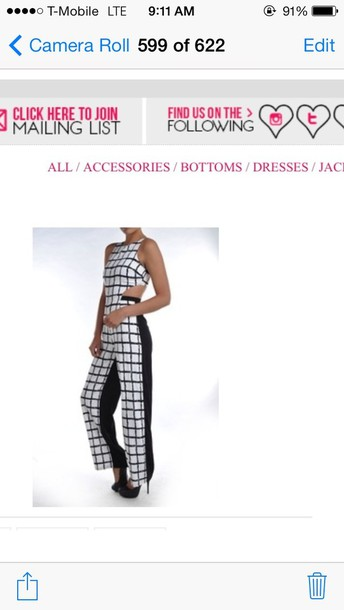 dress white and black cut out jumpsuit